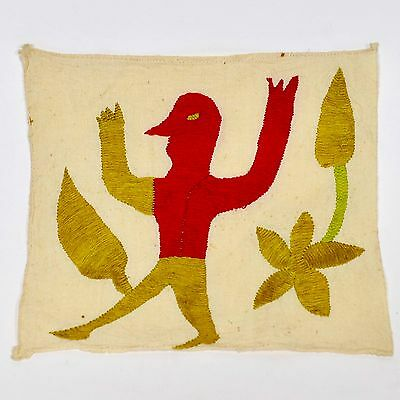 Vintage Yarn Embroidered Textile From MEXICO - MEXICAN FOLK ART
