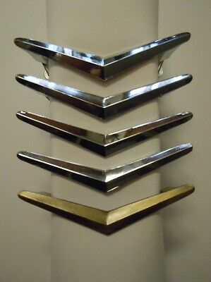 4 Vintage CHROME Chevron Boomerang Atomic DRAWER Cabinet Door Pulls & 1 more