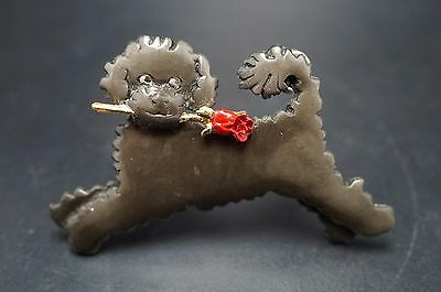 Pewter Dark Brown PORTUGUESE WATER Dog Pin Jewelry MARK SHIELDS Necklace Charm