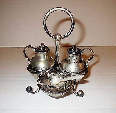 Antique Victorian European SILVER MINIATURE CONDIMENT SET - With PEARL SPOONS