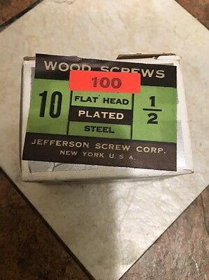 Jefferson #10 X 1/2 inch FLAT  Head SLOTTED Zinc PLATED Wood Screws 100 PER box