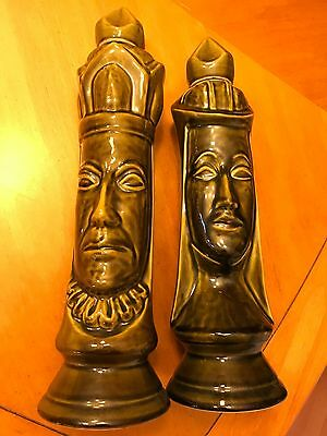 Vintage OLD CROW Ltd Chessman Chess Pieces KING and QUEEN Ceramic Decanter