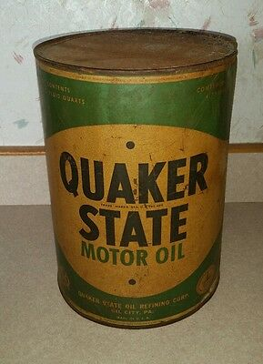 Vintage Quaker State Motor Oil 5 Quart Metal Can Large Empty Rusty