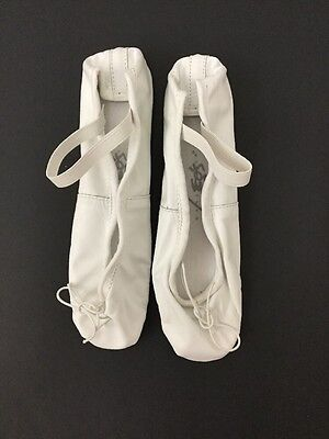 Leo's Ballet Shoes Adult 4C Child Size 1 Leather Full Sole Style 027 White