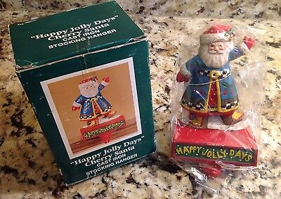 Mary Engelbreit, Happy Jolly Days, Cherry Santa Cast Iron Stocking Hanger, New!
