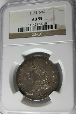 1833 Capped Bust, 50 Cent, Ngc Au 55,  Has Great Eye Appeal, Tom's C & C