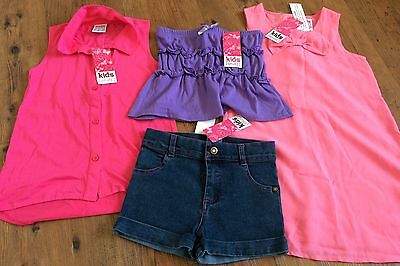 Size 5 set of 4 Girls Kids Stuff Items Pink Dress, Shirt, Denim Shorts & Top NWT