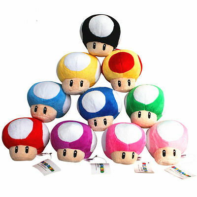 9 Colors Super Mario Mushroom Keychain Plush Toys 2.5in Mini Charm Xmas Gifts