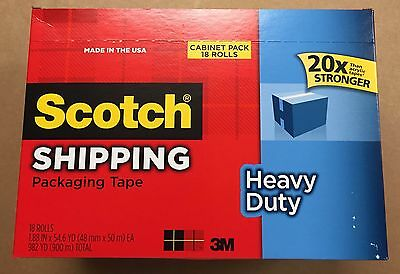 "18 rolls,Scotch Heavy-Duty Shipping Packaging Tape, 1.88""x54.6 Yd. FREE SHIPPING"