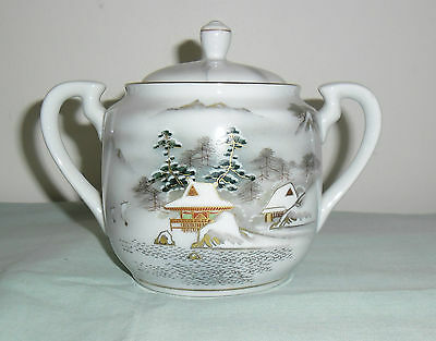 Vintage Kutani Large Sugar Bowl Lidded  : Mountain Lakeside Scene