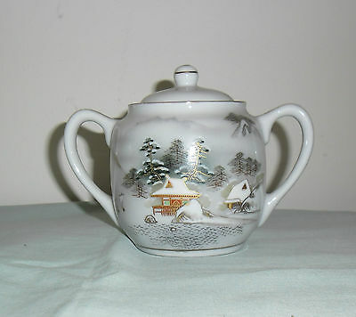 Vintage Kutani Small Sugar Bowl Lidded  : Mountain Lakeside Scene