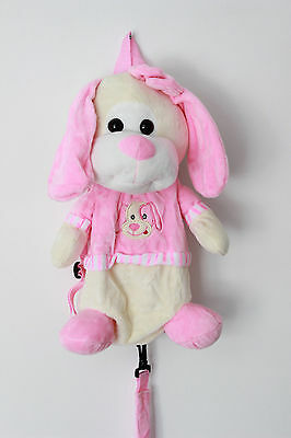 Safety Anti Lost Leash Harness Plush Backpack Pink Dog Girls Kids Toddler Baby