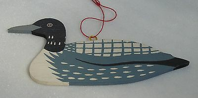 Vintage Wood Ornament Hand Painted Loon Duck Black Gray White