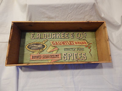 E. R. Durkee & Co. Gauntlet Brand Strictly Pure Spices Wooden Box For Spice Tins