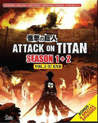 DVD Anime Attack On Titan Season.1+2 Vol.1-37 End Plus Bonus 6 Special Episodes