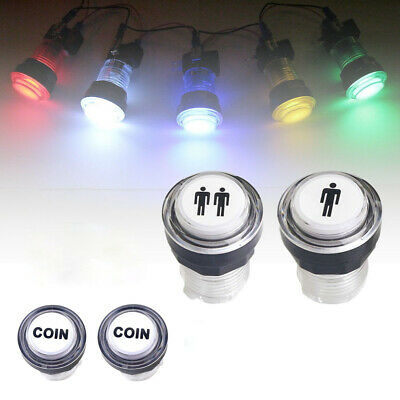 New 4x LED Arcade Game Start Push Button Kit Part 1 Player+2 Player+Coin Buttons