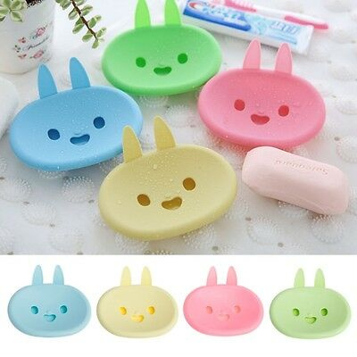 Plastic Cute Rabbit Soap Box Holder Tray Dish Case Container Storage Bathroom