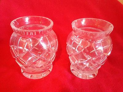Vintage pair lead crystal vases