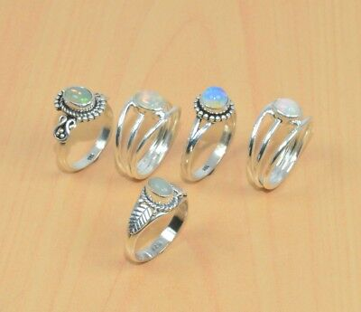 Wholesale 5Pc 925 Solid Sterling Silver Natural Ethiopian Opal Ring Lot