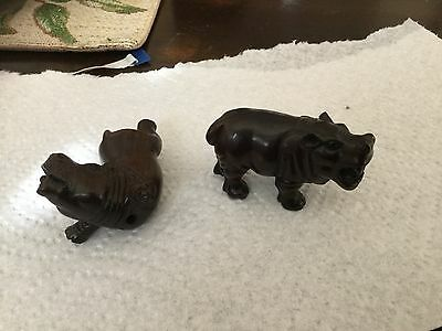 Lot Beautiful Hippo Netskes!! Intricately Carved  Boxwood. One signed! Figures