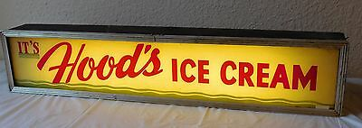VTG IT'S HOOD'S ICE CREAM LIGHTED METAL GLASS Parlor Counter ADVERTISING SIGN