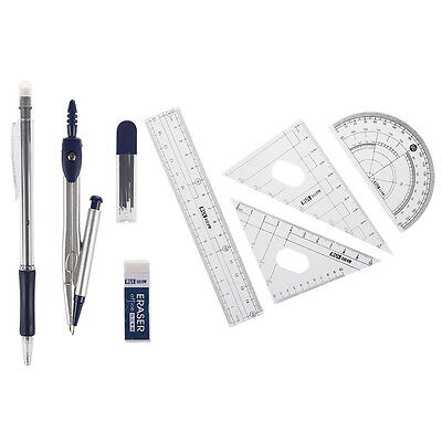 8 in 1 Protractor Compass 15cm Straight Ruler Rulers Set w Case S6L2