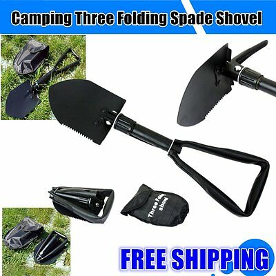 Carbon Steel Three Folding Spade Shovel Camping Portable Survival Tool OK