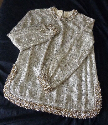 Lilly Rubin Beaded Occasion Top Sz 40 Satin Lng Slv Rhinestone Pearl Accent