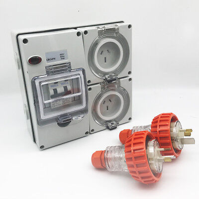 3 pin 2 x 15 Amp RCD Protected Outlet with 2x Male Plug IP66 Outlet Industrial