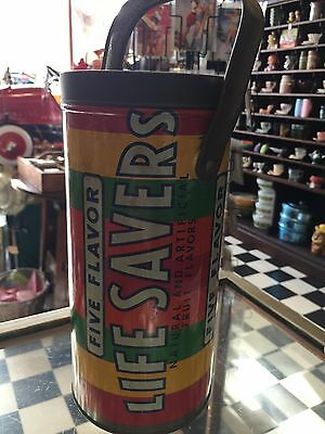 RARE Large Vintage Lifesavers Tin with Handle LIFE SAVERS Shop Advertising