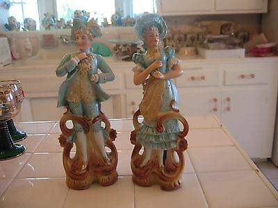 Beautiful Vintage Pair Of Victorian Man And Lady Woman Bisque Figurines Germany