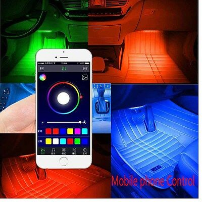 4 X 12 LED Car Decorative Lights Interior Foot Mood Light With Phone