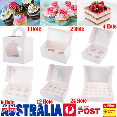 Cupcake Box Range 1/2/4/6/12/24 Holes Window Face Party Wedding Baby Shower Gift