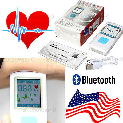 Bluetooth Portable ECG Monitor, Finger Touch Rechargeable Checker, FDA US Stock