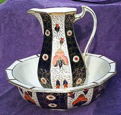 Antique Imari Gaudy Welsh / Dutch Large Pitcher and Basin Bowl
