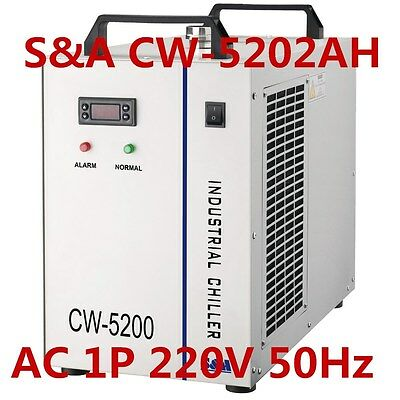 S&A 220V CW-5202AH Industrial Water Chiller for 2 100W CO2 Laser Tubes Cooling