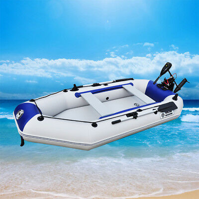 7.5ft/8.8ft 3-4 Person Water Floating Inflatable Fishing Boat Raft Canoe+2 Oars
