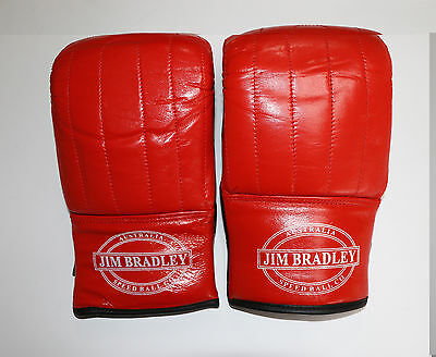 **JIM BRADLEY**Red Boxing Leather Mitts, Bag Mitts