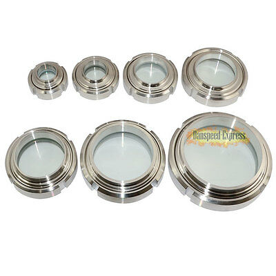 OD 32 -102mm Clear Sanitary Sight Glass Stainless Steel 304 Circular Viewing HOT
