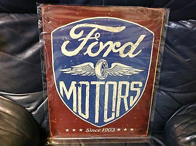 FORD MOTORS SINCE 1903 Rustic Collectible Tin Metal Classic Sign Poster Garage