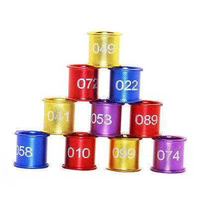100 Pcs 4 Colors Aluminum Birds Pigeon Poultry Leg Bands Rings with Number 1-100