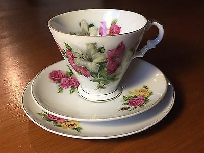 Gorgeous Vintage Cup Saucer And Plate Trio -  Japanese Bone China