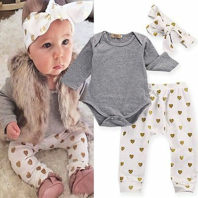 3pcs Infant Baby Girl Clothes T-shirt Romper+Pants Leggings+Headband Outfits Set