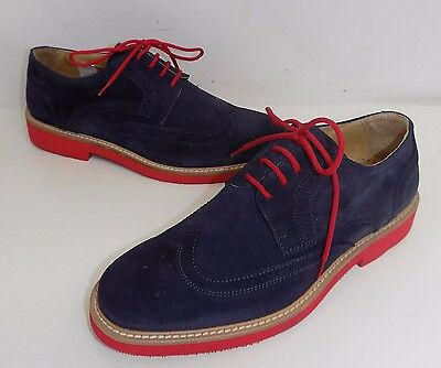 scarpa uomo  firmate exton camoscio blu rosso made in italy stringhe shoes