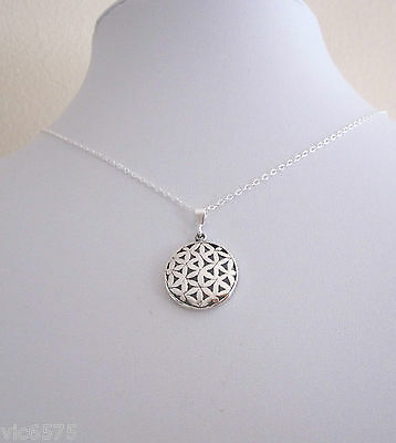 925 sterling silver FLOWER OF LIFE round small pendant with chain necklace