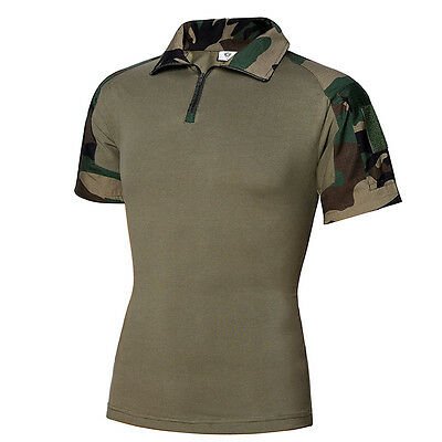 Mens Military Camouflage Frog Suit Short Sleeves T-Shirt Summer Hunting Climbing
