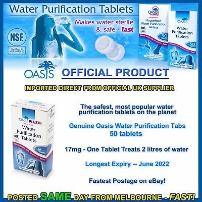 Water purification tablets Oasis 50pk cheapest tabs hiking camping prepper