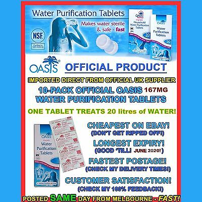 Water purification tablets 10pk tabs 167mg Treat 25ltr tank prepper