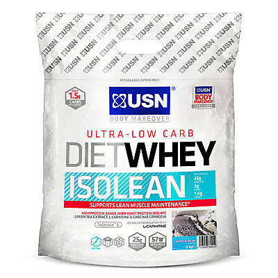 USN Diet Whey Isolean Low Carb Calorie Weight Loss Protein Shake 1kg