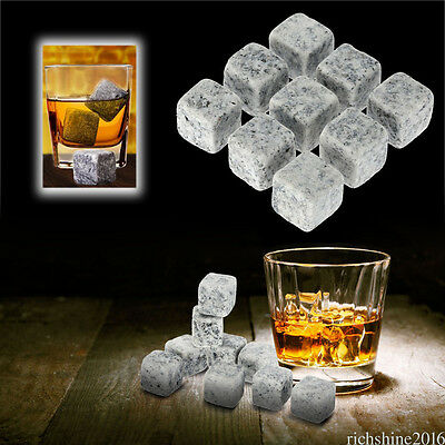9 Pcs Whisky Ice Stones Wine Drinks Cooler Cubes Whiskey Rocks Granite Pouch WH